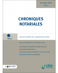 Chroniques notariales. Volume 71